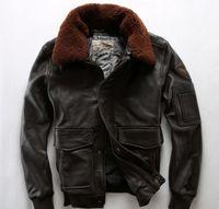 erkek deri uçuş ceketi toptan satış-3 renkler Çıkarılabilir kuzu kürk yaka AVIREXFLY erkekler hakiki deri ceketler uçuş bombacı ceket