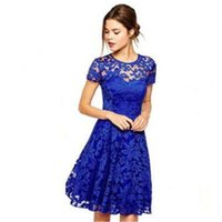 pamuklu kulüp elbiseleri toptan satış-Avrupa ABD pamuk spandex karışımı Ekip boyun kısa kollu çiçek Baskı Nakış kırışıklık Pileli dantel mavi günaha Kulübü seksi parti elbise