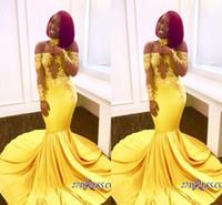 kapalı omuz gece elbiseleri toptan satış-2018 Sarı Afrika Mermaid Gelinlik Modelleri Uzun Dantel Kapalı Omuz Uzun Kollu Sweep Tren Örgün Akşam Parti Aşınma Abiye See Through