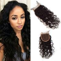 mejores productos para el cabello negro al por mayor-Productos más vendidos 4x4 Cierre de encaje con onda de agua 10-26 pulgadas El negro natural se puede teñir El cabello humano de Virgin G-EASY