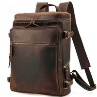 4aa36293c13c 16 Inch Full Grain Genuine Leather Backpack for Men Casual Rucksack Vintage  Crazy Horse Leather Outdoor Travel Business School Bag
