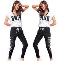 Wholesale women flag leggings - Summer Women PINK Letter Tracksuit 2pcs Yoga suits V Neck USA Flag Short Sleeve T Shirt+Bandage Pants Leggings Casual Jogger Gym Outfits