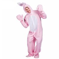 fancy hase großhandel-Neue Ankunft Lose Kaninchen Tier Cosplay Rosa Kaninchen Jumpsuit Liebe Live Kostüme Phantasie Erwachsene Halloween Bunny Kostüm