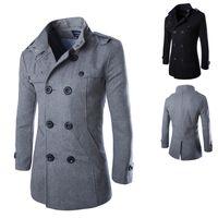 abrigos para hombre tamaño 4xl al por mayor-Europa con estilo para hombre abrigo de lana de alta calidad del collar del soporte doble de pecho para hombres Outwear Gris Negro Tamaño M-4XL