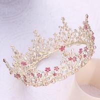 coronas de strass chino al por mayor-JaneVini 2018 barroco Vintage coronas rosa Tiaras corona para novia de la boda nupcial elegante perlas de cristal desfile accesorios para el cabello nueva llegada