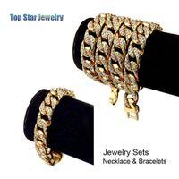 set de pulsera de 24k al por mayor-Hip Hop ICED OUT sistemas de la joyería 24K chapado en oro collar de diamantes lleno pulsera 2pcs / set hombres MIAMI CUBAN ENLACE CADENA Bling Bling accesorio