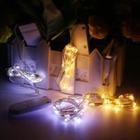 arroz led al por mayor-Luces de cadena de alambre de cobre LED CR2032 botón de la batería de arroz luz de la secuencia 2M 20LED luz de hadas para la decoración de la boda de Navidad