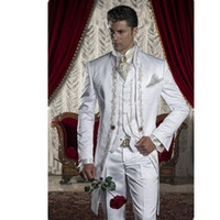 Wholesale Mens Tails - THREE PIECE MENS WHITE TAILCOAT EMBROIDERY MORNING SUIT TAILS JACKET HIGH QUALITY