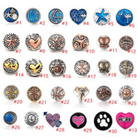 collar de flecha diy al por mayor-30 estilos Metal Heart Love Paw Snap Button Jewelry Oro Plata Arrow Snap DIY 18mm Ginger Snap Pulsera Collares Accesorios