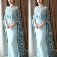 Wholesale Chiffon Floor Length Cape - Light Blue Lace Cape Style Mother Of The Bride Dresses Chiffon Floor Length Prom Dress Custom Made Evening Gowns Vestidos