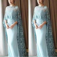 vestidos de novia de encaje azul claro madre al por mayor-Luz azul del cabo del cabo estilo madre de la novia vestidos de gasa palabra de longitud vestido de fiesta por encargo vestidos de noche Vestidos