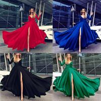 ingrosso modelli di vestiti quinceanera-2018 New Pattern Dress Sexy Deep V Abito manica lunga