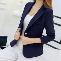 long purple blazer al por mayor-Blazer mujeres nuevas llegadas 2017 señoras Blazers manga larga negocios oficina traje chaquetas mujer azul púrpura gris Blaser Femme Y1891902