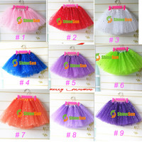 ingrosso ragazza di vestito dal tutu dell'increspatura del sequin-17 Colori Neonate Fluffy Mini Skirt Ragazza 3 strati Sequin Balletto Gonna con stelle scintillanti Dress up Tutu Bambini Ragazze Tutus Pettiskirt