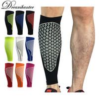 Wholesale football arm pads - Men Running Basketball Calf Leg Brace Support Leg Pads Shin Guards Compression Calf Sleeves Football Volleyball Sport Safety