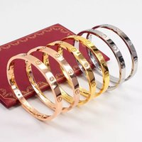 Wholesale gold does fade - Men and women Lovers Bracelet 18K Rose Gold Titanium Steel Diamond Bangle Eternal Ring Bracelet does not fade