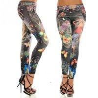 pantalones vaqueros imitados al por mayor-Moda mujer colorido pintado floral imitado jeans legging sexy mujer midwaist jeans tamaño libre