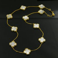 Wholesale white shell flower necklace - 48CM length New arrival Brass and brand name necklace with flower in 10pcs with nature shell and stone with colver flowers for women weddin