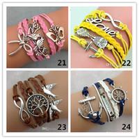 Wholesale infinity link bracelet - 24 styles mix infinity bracelets with multi colors layers charm bracelet fashion jewlery for man or women M005