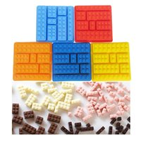 Wholesale Silicone Lego Brick Style Square Sharped Ice Mold Chocolate Mold Cake Jello Building Blocks Ice Tray DIY Gift