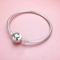 pulseiras de cloisonne pulseiras venda por atacado-925 Sterling Silver White Heart esmalte BRACELET caixa Original Para Encantos De Pandora Pulseira De Prata Mulheres Pulseira Pulseiras das Mulheres Jóias