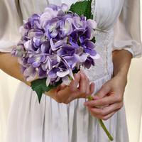 ingrosso fiori singoli rosa falsi-Artificiale Hydrangea Flower Head 47cm Seta finta Single Real Touch Hydrangeas 16 colori per centrotavola di nozze Home Party Decorativo