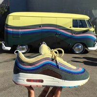 Wholesale black corduroys - 2018 designer shoes Vapormax Sean Wotherspoon Maxes 1 97 VF SW Corduroy Men's Low Top Sneakers Casual Shoes 1 Mens Designer Shoes
