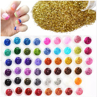 farklı renklerdeki çiviler toptan satış-60 adet Farklı Renkler Tırnak Glitter Toz Toz 3D Nail Art Dekorasyon Akrilik UV Gem Lehçe Nail Art Araçları Set