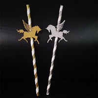 Wholesale silver paper straws - 2018 New Pattern Flying Unicorn Paper Straw Creative Dessert Table Decoration Gold Silver Novel Style Pretty Texture 6rs X