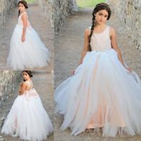 arabische sexy brautkleider großhandel-Charming Spitze Tüll Blumenmädchen Kleid Geburtstag Hochzeit Spitze Bogen Brautjungfer Urlaub Kinder Pageant Kleider