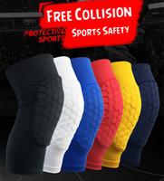 basketbol dizlik yastıkları toptan satış-Petek Çorap Spor Güvenlik Basketbol Spor Kneepad Yastıklı Dizlik Sıkıştırma Diz Kol Koruyucusu Yetişkin Çocuklar Diz Pedleri Buzağı Desteği