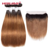 Wholesale Ombre Bundles with Frontal Closure Peruvian Straight Human Hair Weave Bundle with Frontal Two Tone Color T1B J Burgundy