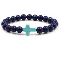 Wholesale white stones bangles for sale - Group buy Cross Bracelets Yoga Chakra Beads Charms Bracelet Reiki Healing Meditation Energy Bangle Lapis Lazuli Natural Stone Bracelet