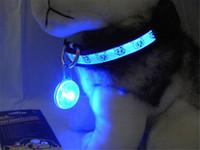 führte hundehalsband sicherheits-tags groihandel-Hund Haustier LED Nacht Sicherheit Blitzlicht für Kragen Druckschalter Hund Licht blau Kragen