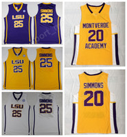 ingrosso pullover giallo di pallacanestro-Liceo Montverde Academy Eagles 20 Ben Simmons Jersey Uomo Basket LSU Tigers College 25 Simmons Jersey Sticthed Bianco Giallo Viola
