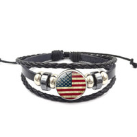 Wholesale multilayer bracelets for sale - 10 Countries National Flags Bracelet Multilayer Woven Beaded Leather Charm Bracelet The Best Gift For Patriots