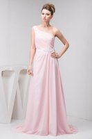 Wholesale cheap maternity dresses for wedding - Elegant Pink Long Bridesmaid Dresses One Shoulder Pleats with Sash Wedding Guest Dresses For Summer Holiday Gowns Cheap WD4-1143