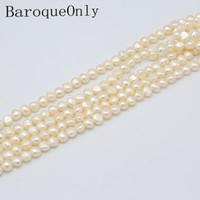 alta joyería barroca al por mayor-Baroque Solo tres colores barroco cordón cadena de alta calidad real de agua dulce perla 9-10mm para la joyería de moda de fabricación de bricolaje