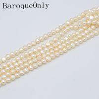 haute joaillerie baroque achat en gros de-BaroqueOnly trois couleurs chaîne de perles baroque haute qualité véritable perle d'eau douce 9-10mm pour la mode bijoux fabrication de bricolage