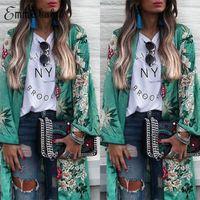 casacos cardigans florais venda por atacado-Mulheres Floral Do Vintage Boho Casual Longo Quimono Cardigan Boho Tops Jaqueta Chiffon Casacos Tamanho S-XL