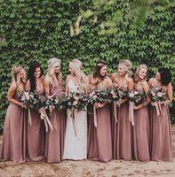 casamento tamanho maior rosa rosa venda por atacado-Rosa empoeirado rosa vestidos de dama de honra querida ruched chiffon a linha longa dama de honra vestidos de festa de casamento vestido plus size