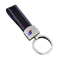 Wholesale leather for keychains - Metal+Leather Keychain Key Chain Key Ring For BMW M Tech M Sport M3 M5 X1 X3 E46 E39 E60 F30 GGA379 50PCS