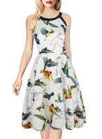 vestidos florales en linea al por mayor-En línea Nueva moda sin mangas de flores vestido floral Halter Neck vestido de noche delgado vestido de bola de impresión vestido formal de las mujeres