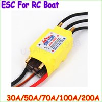Wholesale boat antenna - 1pcs 2-7S 30A 50A 80A 100A 200A ESC 5V 3A 5V 5A UBEC Brushless Speed Controller ESC For RC Boat UBEC 200A S