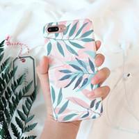 ingrosso lascia le piante-Per iPhone 6 Case Fashion Plants Leaves Stampa Custodia per iPhone 5S SE 6 6S 7 Plus Custodia protettiva completa