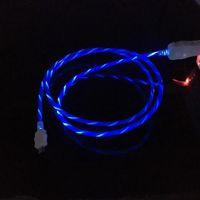 flash-usb-kabel geführt großhandel-Fließende LED sichtbar blinkend USB-Ladekabel Ladegerät 1M 3FT Data Sync Typ C Light Up Kabel für Samsung S7 S6 s8 Rand HTC