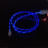 cabo de dados de luz led venda por atacado-Fluindo LED Visível Cabo de Carregamento de Carregamento USB 1 M 3FT Sincronização de Dados Tipo C Light Up Cabo de Chumbo para Samsung S7 S6 s8 borda HTC