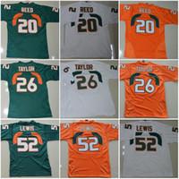 acc fútbol al por mayor-Miami Hurricanes Colegio jerseys # 20 Reed 52 Ray Lewis Jersey CAC 26 Sean Taylor fútbol jerseys Naranja Verde Blanco