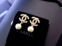 Wholesale Fairy Stud Earring - Factory Sell High Quality Luxury Pearl diamond Stud Earrings Fashion metal Letter Star Moon earrings With Box