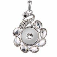 metall pfau charme großhandel-NOOSA Druckknopf Ketten DIY 18mm Ingwer Druckknöpfe Pfau Schmuck Kristall Metall Hohl Charms Halskette